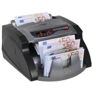 Geldzählmaschine für Banknoten und Geldscheine Schwarz und Grau