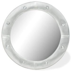 Wandspiegel Kunstleder 60 cm Silbern Glänzend