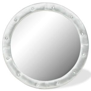 Wandspiegel Kunstleder 80 cm Silbern Glänzend