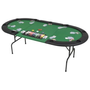 9-Spieler Poker Falttisch 3-fach Faltbar Oval Grün