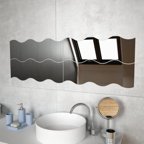 Wandspiegel 4 Stk. 60×18,5 cm Wellenförmig Glas