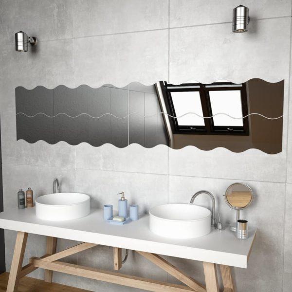 Wandspiegel 4 Stk. 110 x 23 cm Wellenförmig Glas