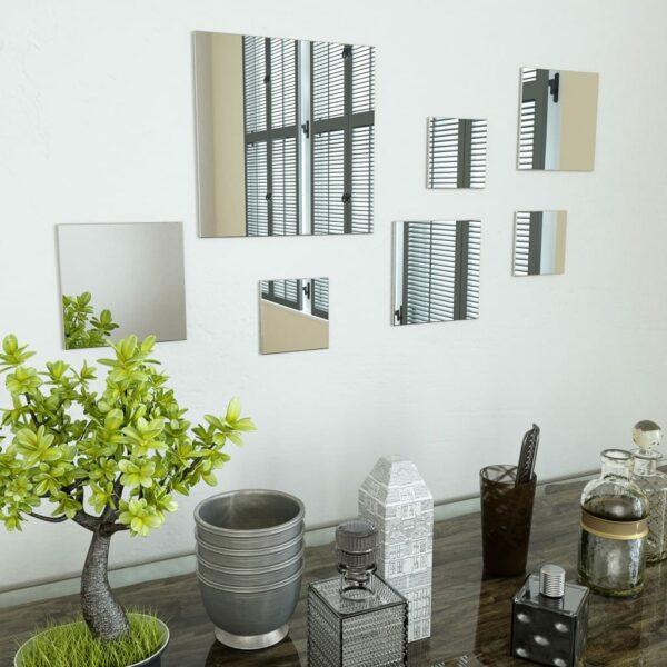 7-teiliges Wandspiegelset Quadratisch Glas