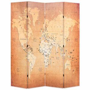 Raumteiler klappbar 160 x 170 cm Weltkarte Gelb