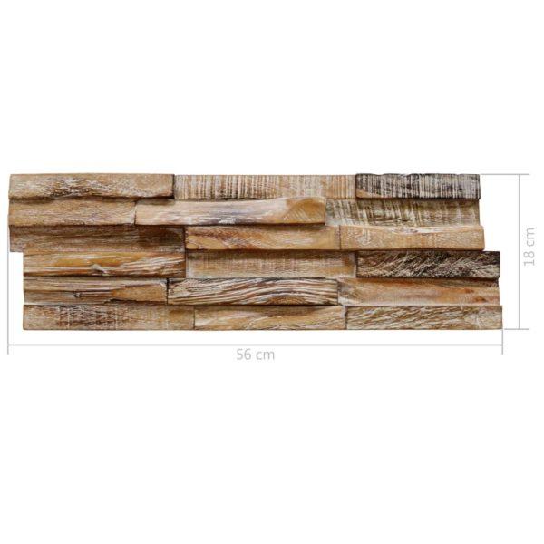 3D-Wandverkleidung 10 Stk. Teak Massiv 1 m²