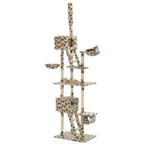 Katzen-Kratzbaum Sisal 230 – 260 cm cm Beige Pfoten-Aufdruck