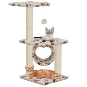 Katzen-Kratzbaum Sisal 65 cm Beige Pfoten-Aufdruck