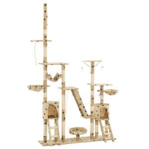 Katzen-Kratzbaum Sisal 230 – 250 cm Pfoten-Aufdruck Beige