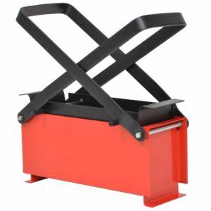 Papierbrikettpresse Stahl 34 x 14 x 14 cm Schwarz und Rot