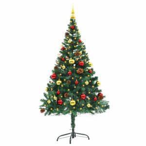 Künstlicher Weihnachtsbaum Geschmückt Kugeln LEDs 150 cm Grün