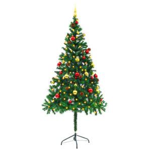 Künstlicher Weihnachtsbaum Geschmückt Kugeln LEDs 180 cm Grün