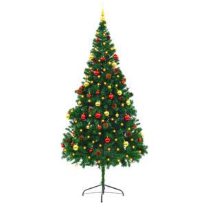 Künstlicher Weihnachtsbaum Geschmückt Kugeln LEDs 210 cm Grün