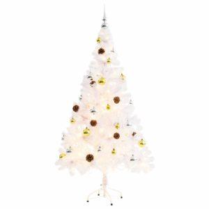 Künstlicher Weihnachtsbaum Geschmückt Kugeln LEDs 150 cm Weiß