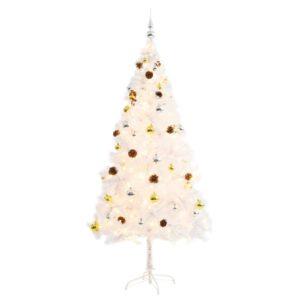 Künstlicher Weihnachtsbaum Geschmückt Kugeln LEDs 180 cm Weiß