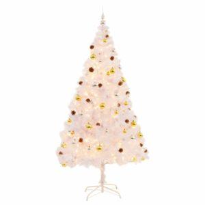 Künstlicher Weihnachtsbaum Geschmückt Kugeln LEDs 210 cm Weiß