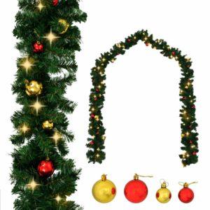 Weihnachtsgirlande Geschmückt mit Kugeln und LED-Lichtern 10 m