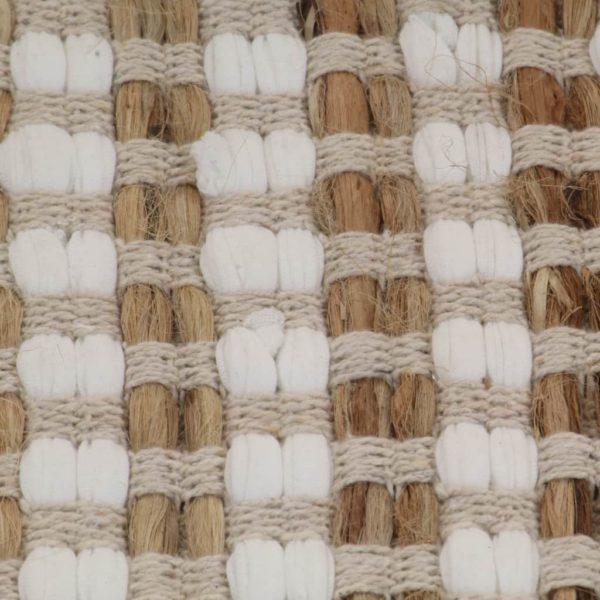 Handgewebtes Badematten-Set Jute Stoff Natur und Weiß