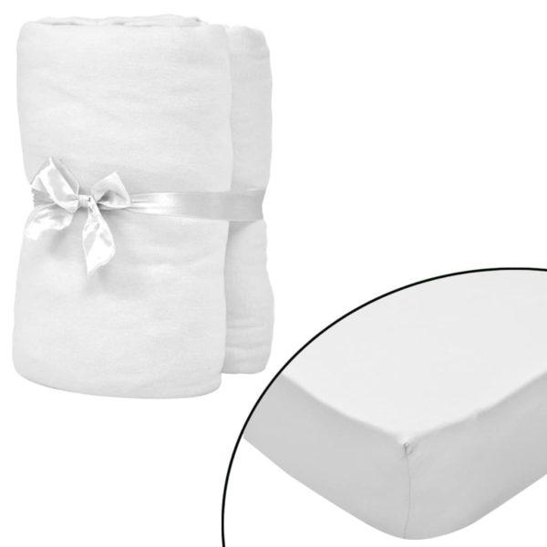Spannbettlaken Kinderbett 4 Stk. 40 x 80 cm Baumwolljersey Weiß