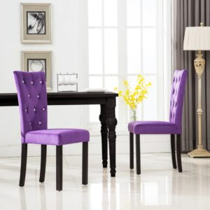 Esszimmerstühle 2 Stk. Violett Samt