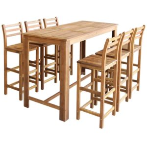 Bartisch und Stuhl-Set 7-tlg. Akazienholz Massiv