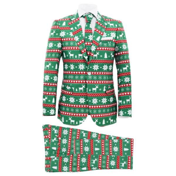 2-tlg. Weihnachtsanzug mit Krawatte Herren Größe 52 Grün