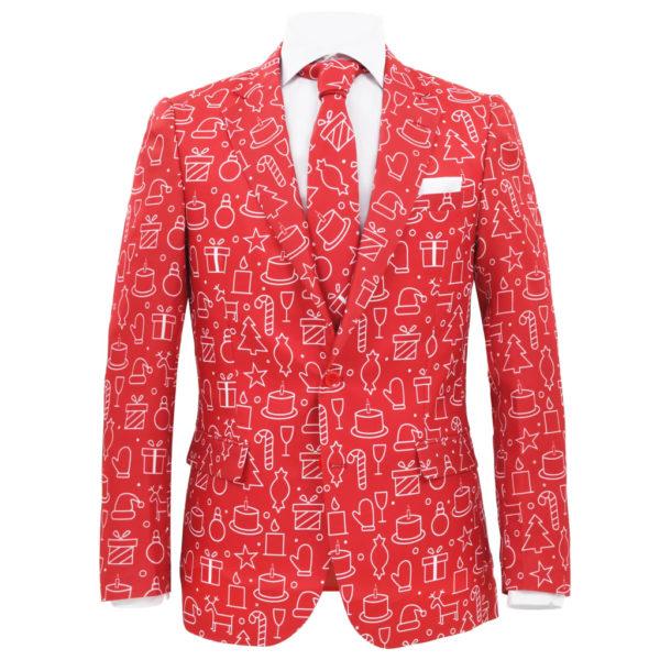 2-tlg. Weihnachtsanzug mit Krawatte Herren Größe 48 Rot