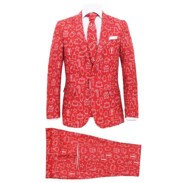 2-tlg. Weihnachtsanzug mit Krawatte Herren Größe 50 Rot