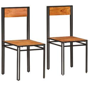 Esszimmerstühle 2 Stk. Akazien-Massivholz