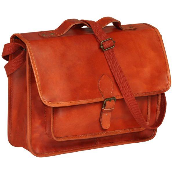 Laptoptasche Echtleder Orangebraun