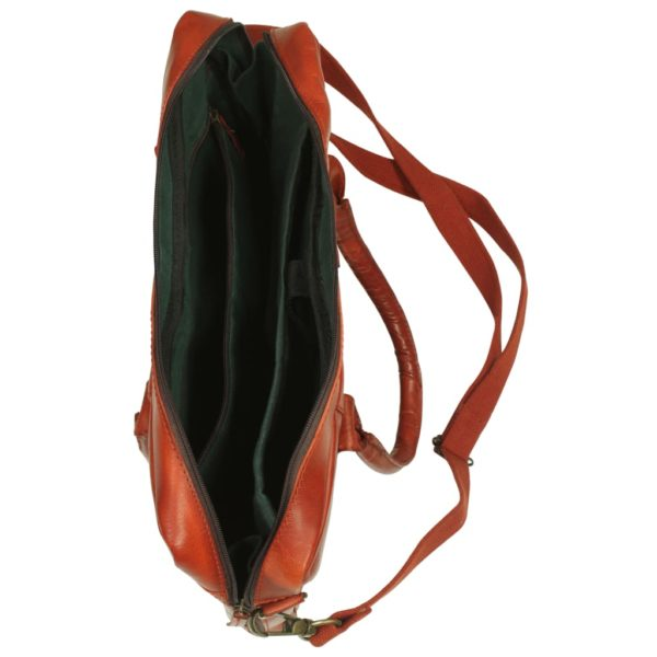 Laptoptasche mit Reißverschluss Echtleder Hellbraun