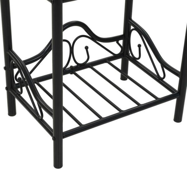 Nachttische 2 Stk. Stahl und Hartglas 45 x 30,5 x 60 cm Schwarz