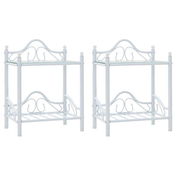 Nachttische 2 Stk. Stahl und gehärtetes Glas 45×30,5×60 cm Weiß