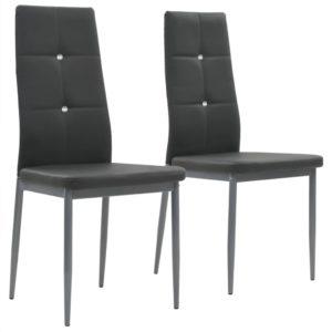 Esszimmerstühle 2 Stk. Grau Kunstleder