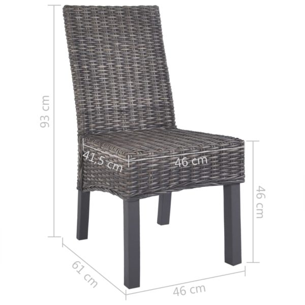 Esszimmerstühle 2 Stk. Braun Kubu Rattan und Mango Holz