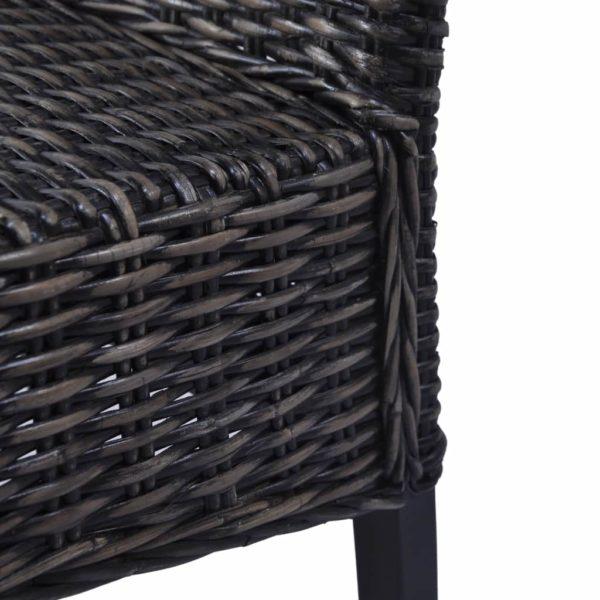 Esszimmerstühle 2 Stk. Schwarz Kubu Rattan und Mango Holz