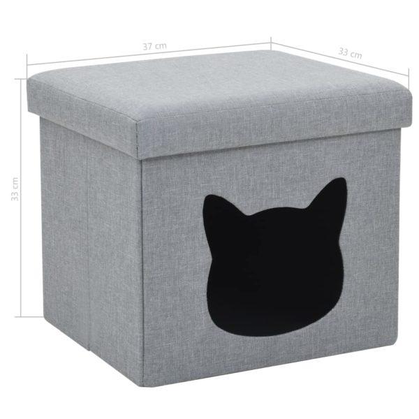 Falthocker Katzenbett Leinenoptik 37×33×33 cm Grau