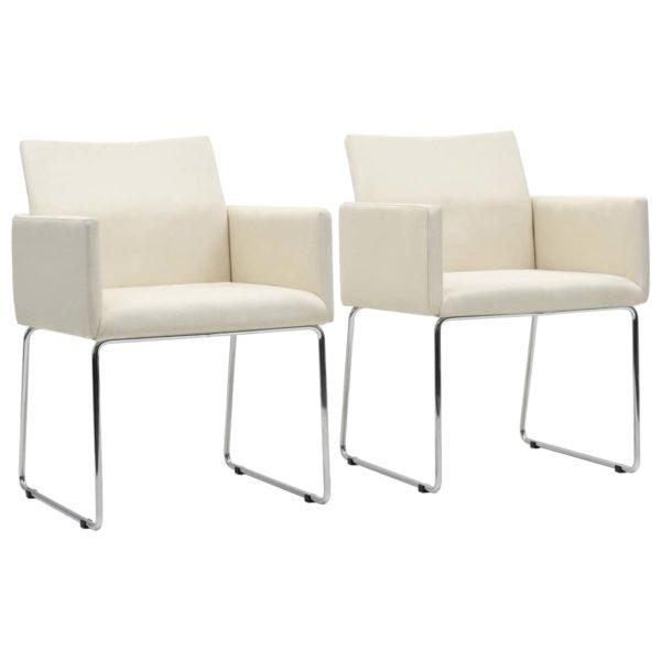 Esszimmerstühle 2 Stk. Leinenoptik Weiß Stoff