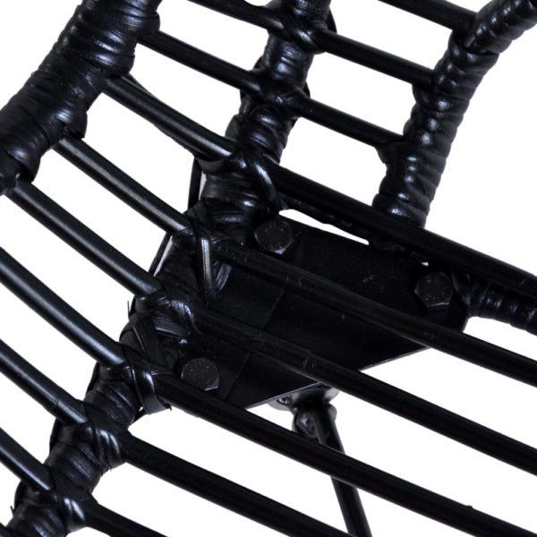 Esszimmerstühle 4 Stk. Schwarz Natur Rattan