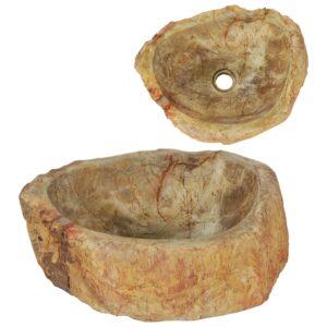 Waschbecken 45 x 35 x 15 cm Fossiler Stein Cremeweiß