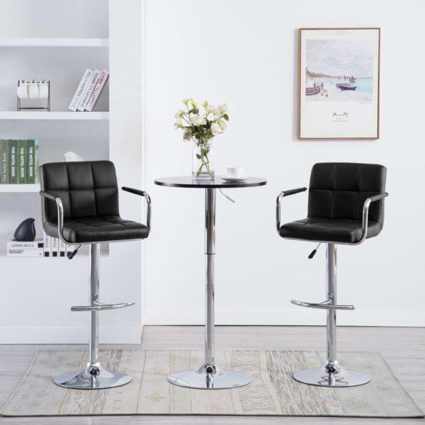 Barstühle mit Armlehnen 2 Stk. Schwarz Kunstleder