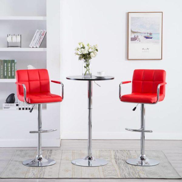 Barstühle mit Armlehnen 2 Stk. Rot Kunstleder