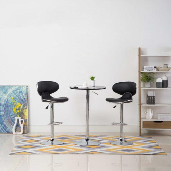 Barstühle 2 Stk. Schwarz Kunstleder