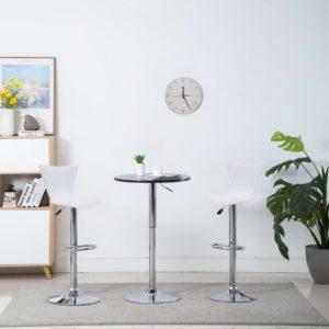 Drehbare Barstühle 2 Stk. Weiß Kunstleder