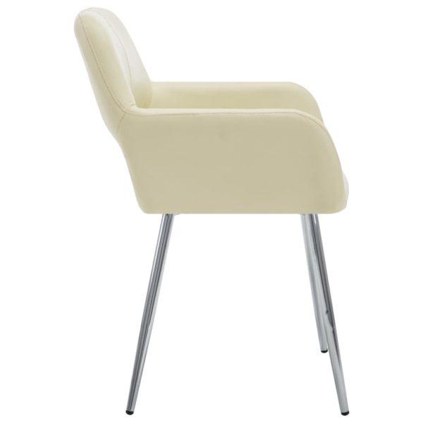 Esszimmerstühle 2 Stk. Creme Kunstleder
