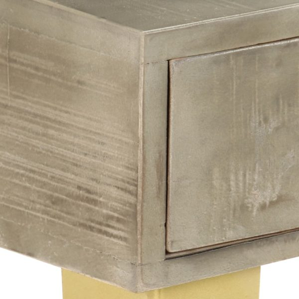 Konsolentisch Grau mit Messing 110 x 35 x 76 cm Mangoholz Massiv