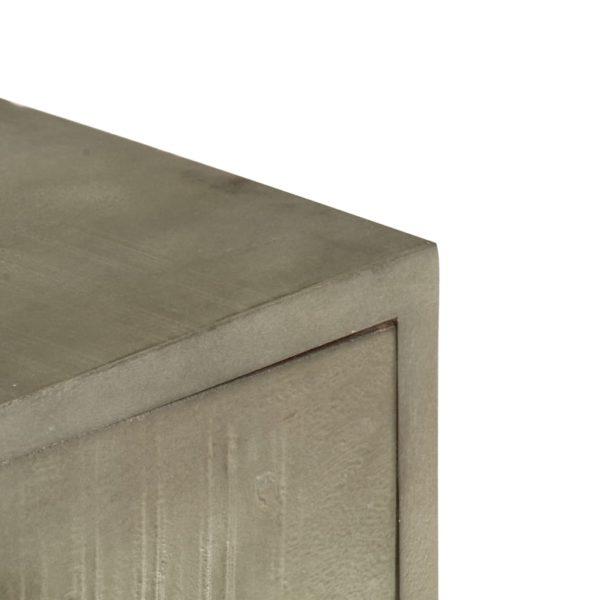 Couchtisch Grau mit Messing 110 x 60 x 35 cm Mangoholz Massiv