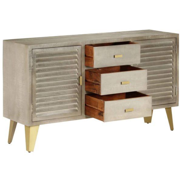 Schubladenschrank Grau mit Messing 140 x 40 x 80 cm Mangoholz Massiv