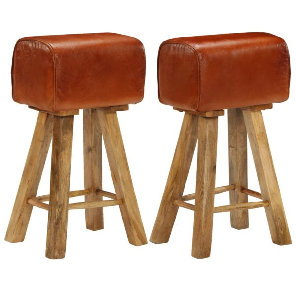Barstühle 2 Stk. Echtleder und Mango-Massivholz