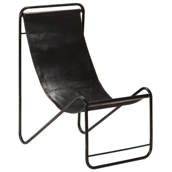 Stuhl Schwarz Echtleder