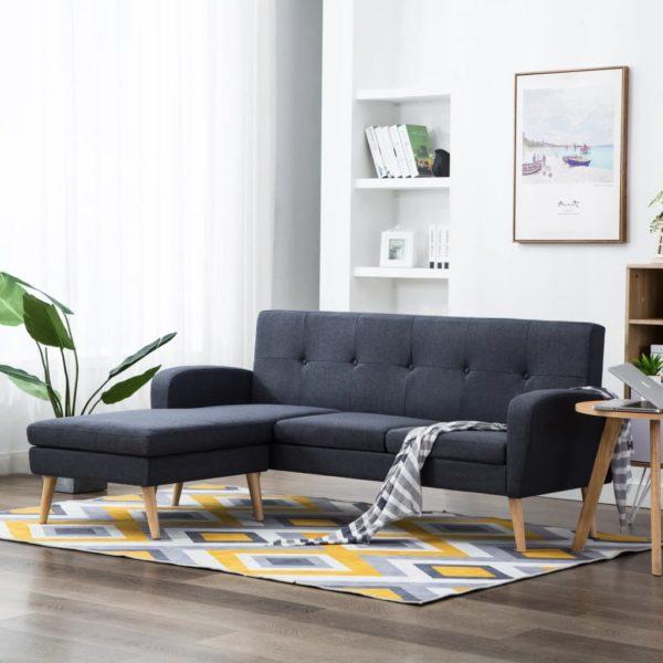 Sofa in L-Form Stoffbezug 186 x 136 x 79 cm Dunkelgrau